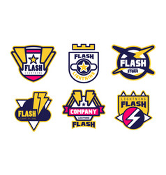 flash lightning company logo templates collection vector image