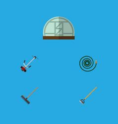 Flat icon dacha set of tool hothouse hosepipe vector