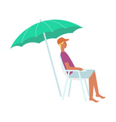 flat man in lounger under sun umbrella icon vector image