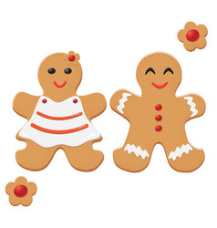 Gingerbread man and woman decorated colored icing vector