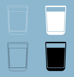 Glass with fluid the black and white color icon vector