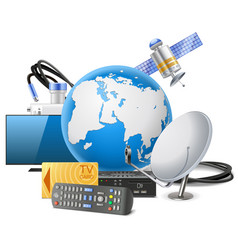 Globe with satellite equipment vector