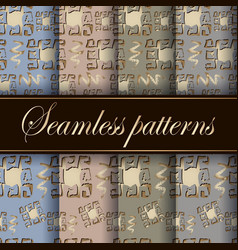 Greek old ancient style 3d seamless patterns set vector