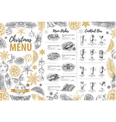 Hand drawing christmas holiday menu design vector
