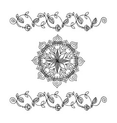 hand-drawn flowers ribbon and mandala vector image