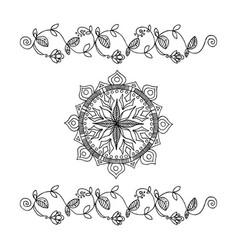 Hand-drawn flowers ribbon and mandala vector