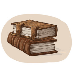 hand drawn sketch stack from two oldest books vector image