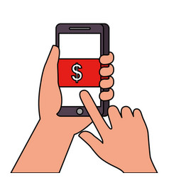 hand touch money screen button smartphone vector image