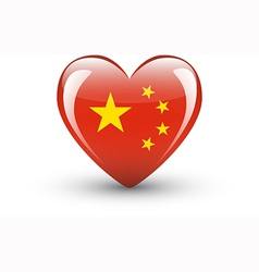Heart-shaped icon with national flag china vector