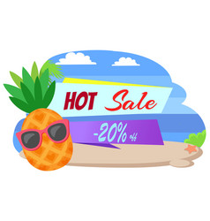 Hot sale 20 percent off summer sticker pineapple vector