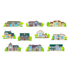 Houses bungalow cottages real estate buildings vector
