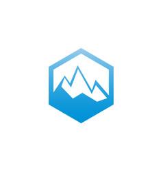 Ice mountain in hexagon shape logo design template vector