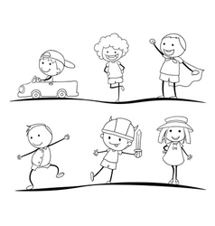kids sketches vector image vector image