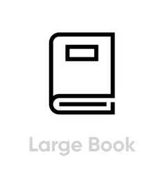 Large book icon editable line vector