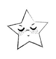 Line kawaii angry and cute star design vector
