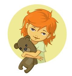 Little girl holding bear vector image