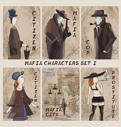 Mafia city characters set role-playing card game vector