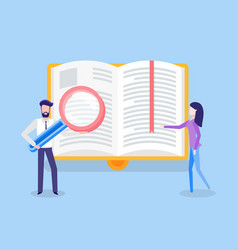 Man with loupe and woman near page of book vector