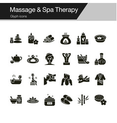 massage and spa therapy icons glyph design vector image
