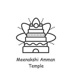 Meenakshi amman temple line icon editable vector