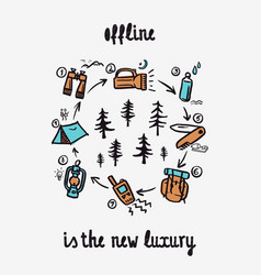 offline is new luxury - lettering inspiring vector image
