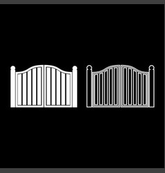 Old gate icon set white color flat style simple vector