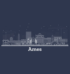 outline ames iowa skyline with white buildings vector image