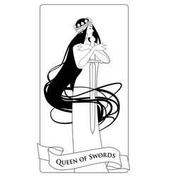 Outlines queen of swords with spades crown vector