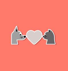 Paper sticker on stylish background cat dog heart vector