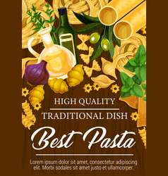 pasta from italian cuisine poster with seasonings vector image