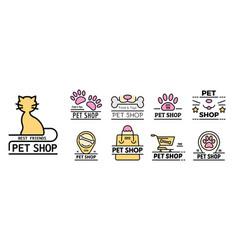 pet store icons set line color vector image