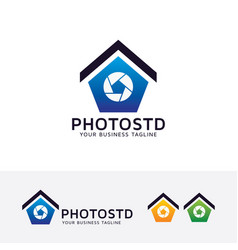 photo studio logo design vector image
