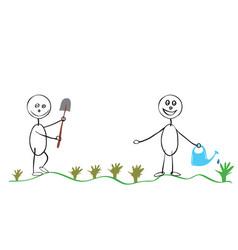 planting seedlings in the garden vector image