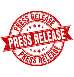 press release round grunge ribbon stamp vector image vector image