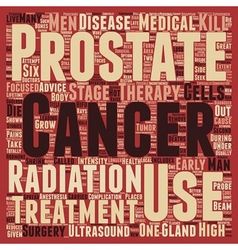 Prostate Cancer Treatment text background vector image
