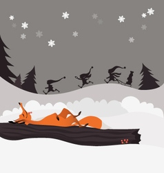 Red fox in winter christmas forest and elves vector