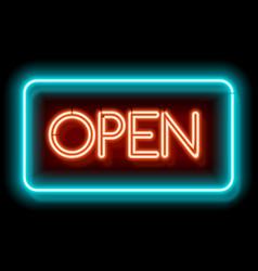 Retro neon sign open vector