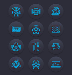 Robotics mechanical engineering robots icons vector
