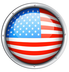 Round icon for flag america vector