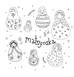 Russian traditional wooden toys babushka vector image