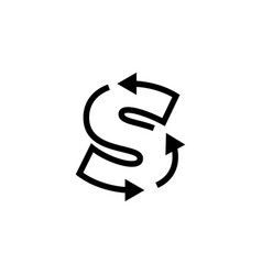 S letter recycle logo icon vector