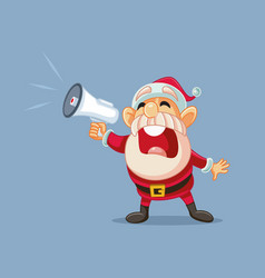 santa claus shouting announcement in megaphone vector image