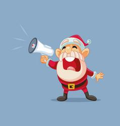 Santa claus shouting announcement in megaphone vector