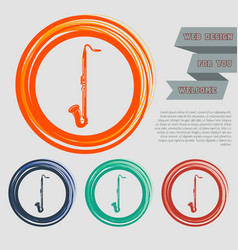 saxophone icon on the red blue green orange vector image