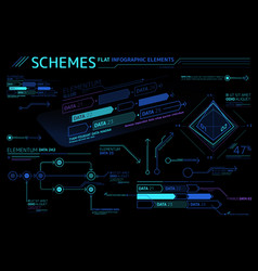 Schemes flat infographic elements collection vector