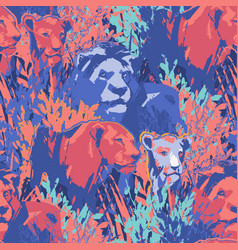 seamless pattern lion pride among grass and vector image