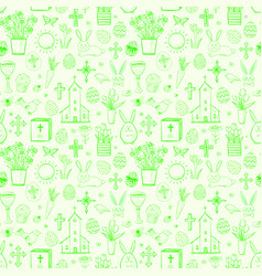 seamless pattern with green easter doodle sketches vector image