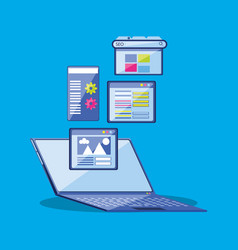 Search engine optimization with laptop vector