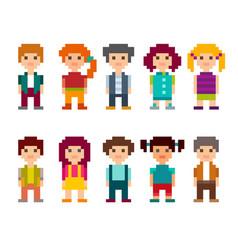 Set different pixel art 8-bit people characters vector
