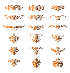 Set flourishes calligraphic elegant ornament di vector